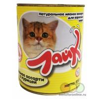 """Корм """"Лайк"""" консервы для кошек 850 г мясное ассорти с курицей"""