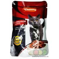 Корм для кошек CHAMMY c говядиной 100 гр, 24 шт.